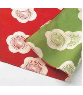 Yamada Seni Musubi - Foulard japonais - Motif Abricot Reversible (rouge et vert) - 100% Coton